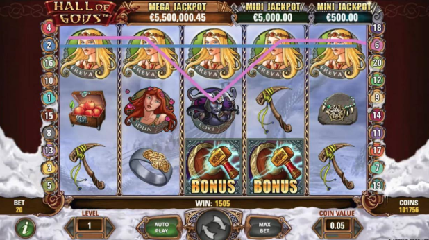 Hall of Gods slots machine bonus